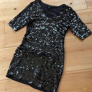 BCBG grey sequin party dress Medium